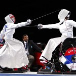 SEPTEMBER 5: Great Britain's Justine Moore, left, competes against Russia's Liudmila Vasileva during the Paralympic women's individual Epee Category B Preliminary Pool B at the Excel Arena, London. (John Walton/PA)